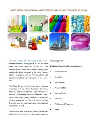 United States Fine Chemicals Market: Prospects, Trends, Market Size and Forecasts up to 2022