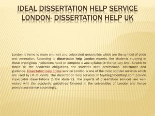 Dissertation Help London - Trusted Dissertation Service by UK Experts