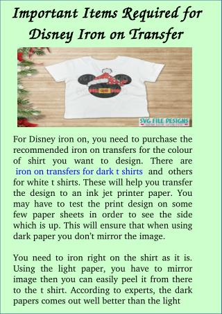 Important Items Required for Disney Iron on Transfer