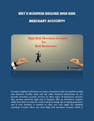 Why E-business Require High Risk Merchant Account?