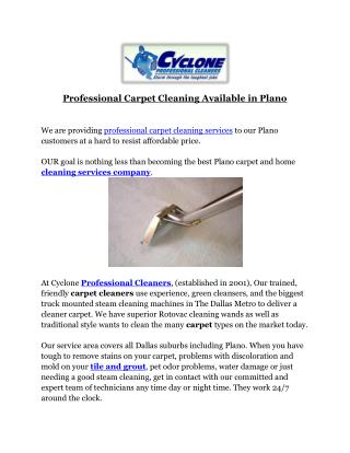 Professional Carpet Cleaning Available in Plano