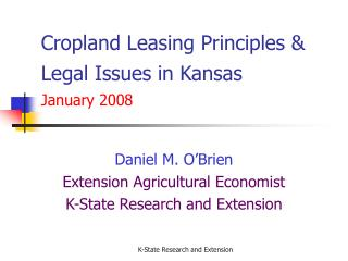 Cropland Leasing Principles & Legal Issues in Kansas  January 2008