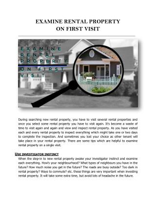 EXAMINE RENTAL PROPERTY ON FIRST VISIT