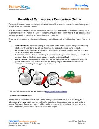 Benefits of Car Insurance Comparison Online