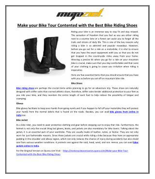 Make your Bike Tour Contented with the Best Bike Riding Shoes