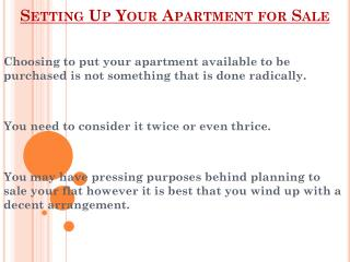 Setting Up Your Apartment for Sale