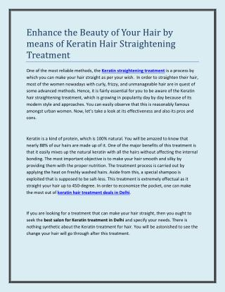 Enhance the Beauty of Your Hair by means of Keratin Hair Straightening Treatment