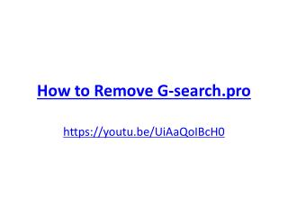 How to Remove G-search.pro