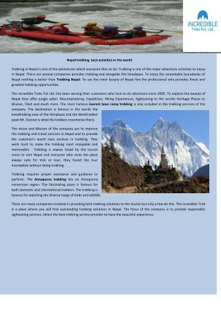 Nepal trekking best activities in the world