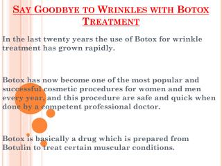 Say Goodbye To Wrinkles With Botox Treatment