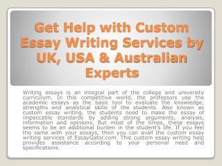 Custom Essay Writing Services - Quality Custom Essay Help in UK - USA & Australia