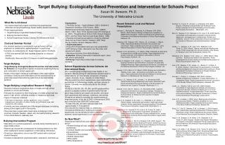 Target Bullying: Ecologically-Based Prevention and Intervention for Schools Project