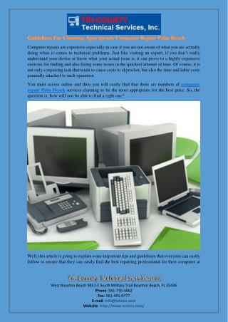 Guidelines For Choosing Appropriate Computer Repair Palm Beach