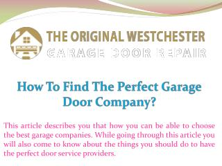 How To Find The Perfect Garage Door Company