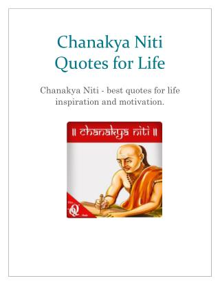Chanakya Niti - Inspirational and Motivate yourself with Quality Quotes of Chanakya.