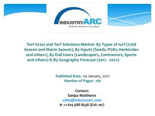 Turf Grass and Turf Solutions Market Buoyed by Rising Demand From The Sports Segment