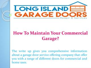 How To Maintain Your Commercial Garage?