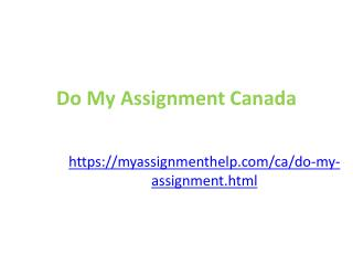 Do My Assignment Online in Canada