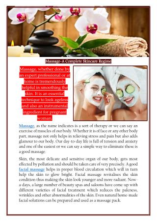 Massage-A Complete Skincare Regime