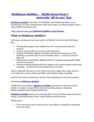 Multistore Builder Review - Multistore Builder DEMO & BONUS