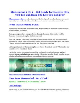 Mastermind 1 On 1 review demo and $14800 bonuses