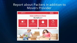 Report about Packers in addition to Movers Provider