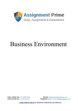 Business Environment Assignment Sample - Assignment Prime Australia