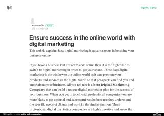 Ensure success in the online world with digital marketing