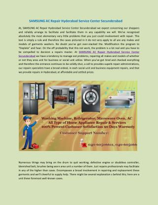 SAMSUNG AC Repair Hyderabad Service Center Secunderabad