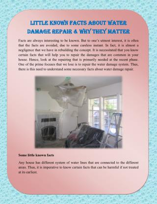 Little Known Facts about Water Damage Repair & Why They Matter