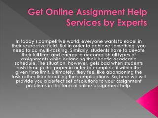 Assignment Help - Online Assignment Writing Services Provider in Australia