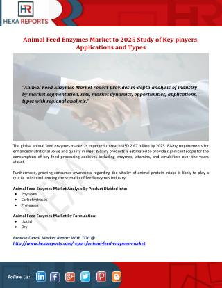 Animal Feed Enzymes Market to 2025  Study of Keyplayers, Applications and Types