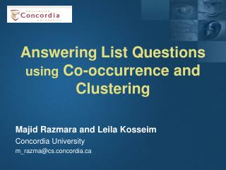 Answering List Questions  using  Co-occurrence and Clustering