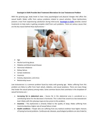 Sexologist in Delhi Provides Best Treatment Alternatives for Low Testosterone Problem