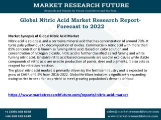 Global Nitric Acid Market Research Report- Forecast to 2022