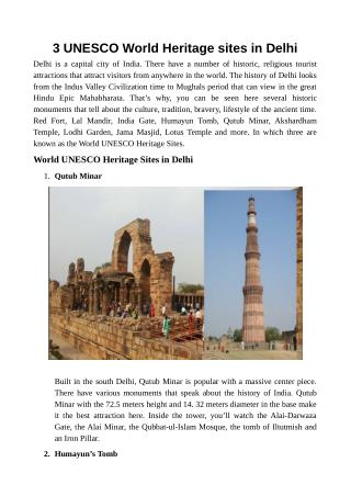 3 UNESCO World Heritage sites in Delhi