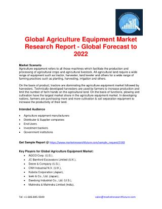 Global Agriculture Equipment Market Research Report - Global Forecast to 2022