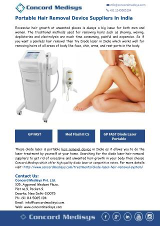 Concord Medisys: Portable Hair Removal Device In India