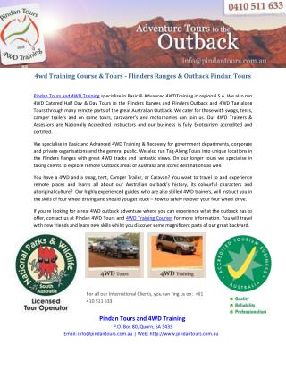 4wd Training Course & Tours - Flinders Ranges & Outback Pindan Tours