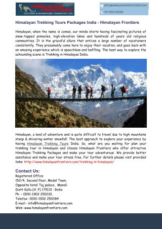 Himalayan Trekking Tours Packages India - Himalayan Frontiers