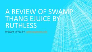 A Review Of Swamp Thang Ejuice By Ruthless