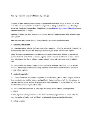 Top 5 factors to consider while choosing a College