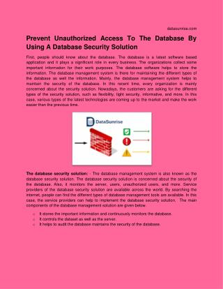 Prevent Unauthorized Access To The Database By Using A Database Security Solution