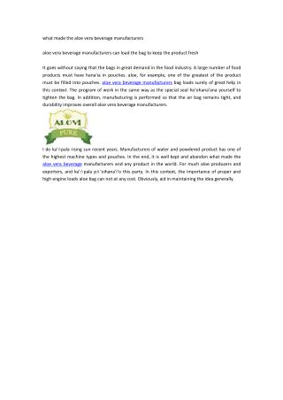 what made the aloe vera beverage manufacturers