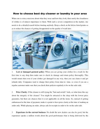How to choose best dry cleaner or laundry in your area