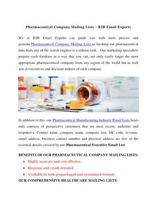 Pharmaceutical Company Mailing Lists - B2B Email Experts