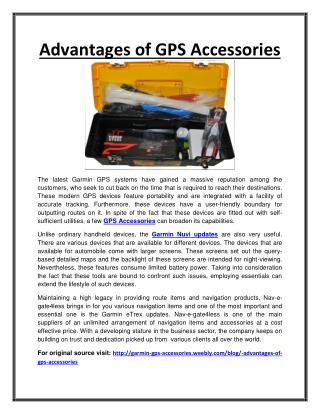 Advantages of GPS Accessories