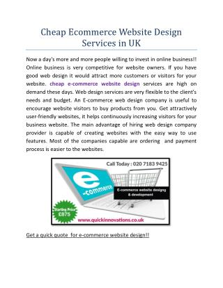 Cheap Ecommerce Website Design Services in UK