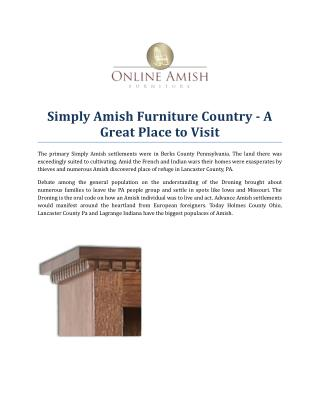 Simply Amish Furniture Country - A Great Place to Visit
