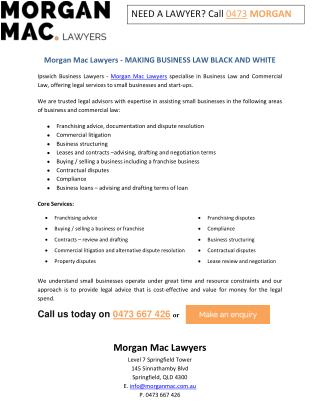 Morgan Mac Lawyers - MAKING BUSINESS LAW BLACK AND WHITE